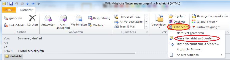 e mail zurückrufen outlook 2010